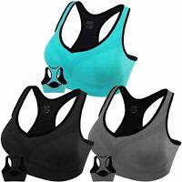 3 Pack Women Racerback Sports Bras High Impact, Black-grey-blue, Size XX-Large P