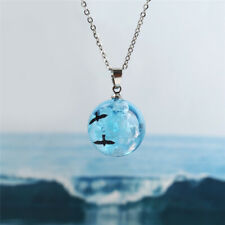 White Clouds Blue Sky Birds Glass Ball Pendant Necklace Terrarium Fashion Gift