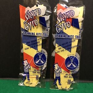 Vintage 1950s 60s Skyro Gyro Spinning Kite Tail in Original Package lot of 2
