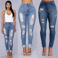 2017 Women Denim Skinny Pants High Waist Hole Stretch Jeans Slim Pencil Trousers