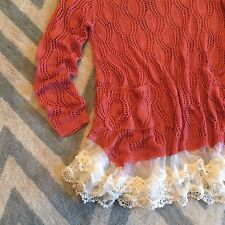 New Anthropologie Lace Hem Crochet Knit Boho Sweater Tunic Women's Small  Medium