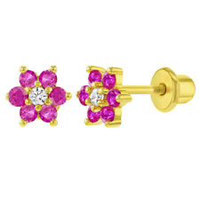 18k Gold Plated Fuchsia Clear Crystal Flower Screw Back Toddler Kids Earrings