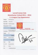 LARNELL COLE MANCHESTER UTD 2011-2014 ORIGINAL HAND SIGNED CUTTING/CARD