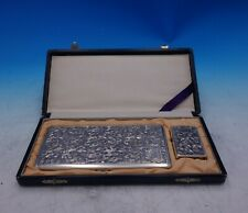 Japanese .950 Silver Cigarette Case and Lighter in Fitted Box w/ Leaves (#3893)