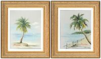 J Norton Signed, Two Gold Framed Canvas Oil Painting, Palm Trees Florida Seaside