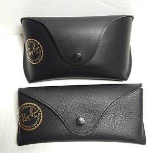 Lot of 2 Ray Ban Black Leather Gold  Logo Stamp Glasses Sunglasses Cases Only