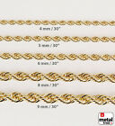 Mens Brilliant Heavy Rope Chain Necklace High End Quality 14K Yellow Gold Plated