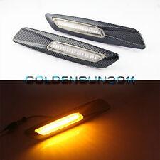 Amber LED Side Marker For BMW E60 E87 E88 E90 E91 F10 Style Carbon Fiber Trim