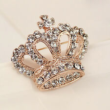 Women Diamond Crown Shape Brooch Fashion Elegant Wedding Bridal Bouque Dress Pin