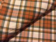 Vintage 70's Orange & Green Plaid Twill Wool & Cotton Sewing/ Apparel Fabric 127