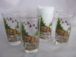 Whitetail Buck Deer 12oz Clear Glass Tumblers, Set of 4.