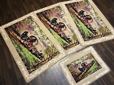 ROMANY GYPSY WASHABLES NEW 2018 SETS OF 4 MATS BEIGES-BROWNS NON SLIP GYPSY ROAD