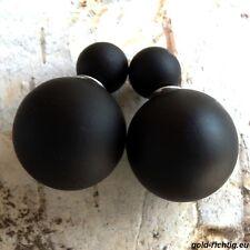Doppelperlen Ohrstecker schwarz matt (Ohrringe Perlenohrstecker Doppel Perlen)