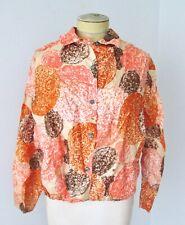 Vtg 60s 70s mod orange brown silky poly boxy blouse blousy top elastic waist M/L