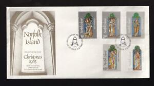 Norfolk Island 1983 FDC Christmas Stained Glass, unaddressed, sc#314-318 combo