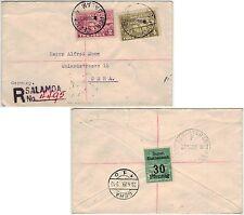 Neuguinea 1929, R-Brief mit MiNr. 42 u. 44 von Salamoa nach Deutschland