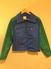 Vtg 70's Roffe Men Green Blue Ski Jacket PUFFER Fitted Winter Snow Coat S/M