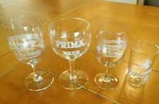 Atq. SET of 4 ASSORTED PRIMA BEER GLASSES / CHICAGO, ILL. INDEPENDENT BREWERS