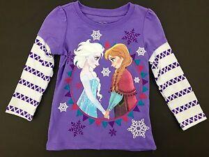 Disney Frozen Anna & Elsa Purple & White Triangle Pattern Long Sleeve T-Shirt 2T