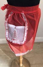 Vintage Christmas apron half red Christmas Tree Sheer Holiday retro pin up
