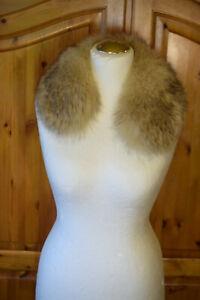 Echt Pelz Kragen Aufsatz Fell Beige edel sehr weich 55cm elegant