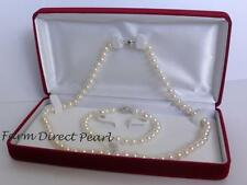 """18"""" Inch Set Genuine 8-9mm White Pearl Strand Necklace Bracelet Earring Cultured"""