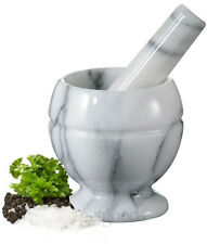White Marble Kitchen Pestle & Mortar Herbs Spices Paste Crusher Grinding Grinder