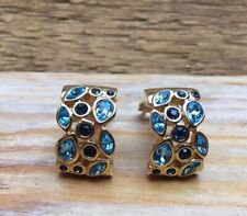 Big Vintage Gold Tone Blue Rhinestone Clip On Earrings/Retro Jewelled/80's