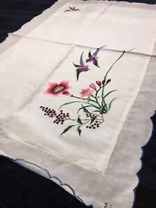 """Vintage NOS Embroidered White Pillow Sham 19"""" X 28"""" Shabby Cottage Chic"""