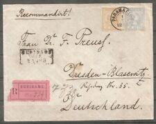suriname brief 23+27 Paramaribo 1-7-1899 naar Dresden Blasenwitz via Le Havre