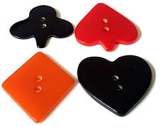 Set of 4 Vintage Bakelite Buttons…Card Suits Pips...Heart Club Diamond Spade