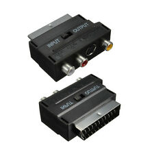 Black RGB Scart Male to 3 RCA Female S-Video AV TV Audio Cable Adapter Converter