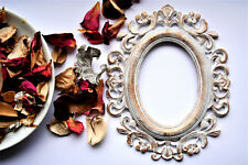 Wedding Frame White Oval frame Covered With Gold Patina Vintage frame Gothic