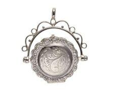 British Made Hallmarked Sterling Silver Swivel Fob Locket Holds 2 Photos