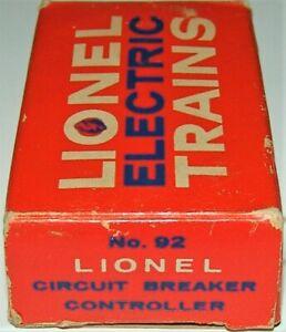 POSTWAR LIONEL 92  SCARCE CIRCUIT BREAKER & OB C-9 UNUSED  1959