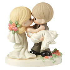 $ PRECIOUS MOMENTS Figurine WEDDING DAY COUPLE Porcelain Statue HOLDING BRIDE