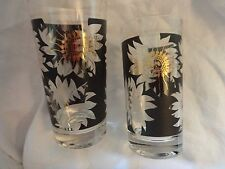 retro Black and gilt pair glass tumblers floral made in USA