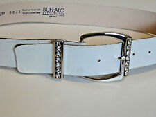 BUFFALO David Bitton White BLING Leather Belt Made in Canada NICE!
