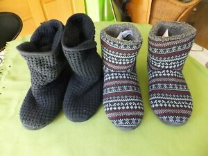 2 Pairs Mens / Ladies Slipper Boots - Size 9 - Debenhams / Mantaray Loungewear