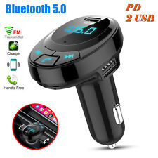 Wireless Bluetooth 5.0 FM Transmitter Radio AUX Adapter Car Kits 2 USB Charge
