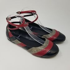 Women's Michael Antonio Flats Shoes Size 7.5 Black Red Gray Faux Snakeskin Ankle