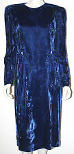 NEIMAN MARCUS Vintage Blue Velvet Evening Dress 12 Rhinestone Trim Bow LS