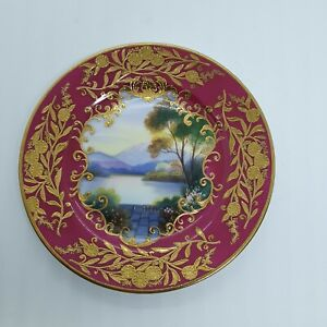 EXQUISITE HAND PAINTED AND HEAVY GILDED NORITAKE PLATE.