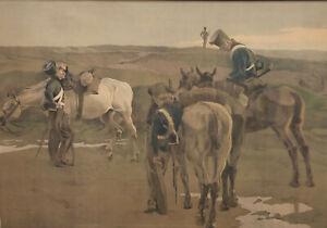 Robert VON HAUG 1857 - 1922 - Rastende Dragoner im Morgenrot - datiert 1902