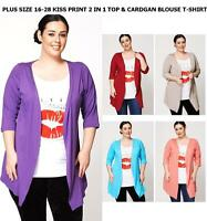 LADIES CURVE PLUS SIZE 16-28 XXXXL KISS 2IN1 T-SHIRT CARIDGAN SUMMER TOP BLOUSE