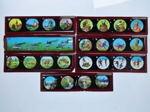 7 Glass Magic Lantern slides stripes slide strip coloured