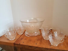 Vintage Tiara Crystal Sandwich Glass 13 Pc Punch Bowl Cups & Base Wedding Party