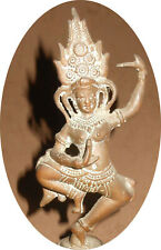 Antique Cambodia French-era colony Bronze Apsara dancer bell 16 cm Nice RARE