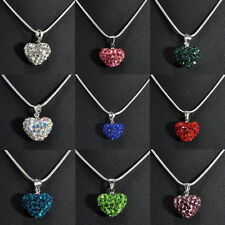 Heart Silver Plated Fashion Crystal Necklace Jewelry Pendant Chain Love Gift