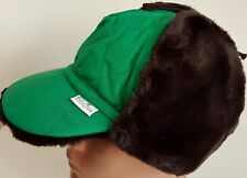 CONTE OF FLORENCE HAT CAP TRAPPER AVIATOR ELMER FUR XMAS GREEN VINTAGE FLAP 57